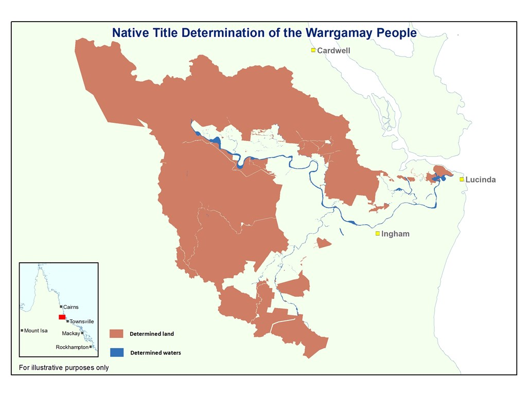 A map showing the native title determination of the Warrgamay People, encompassing 185,000 hectares of land and water near Ingham, Cardwell and Lucinda.