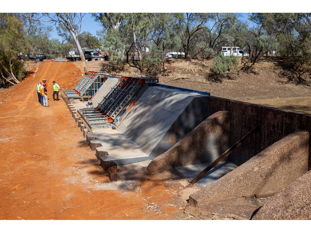 Construction work on Isisford Weir.