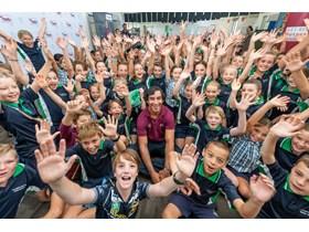 Johnathan Thurston visits last year's winning school, Peregian Springs State School on the Sunshine Coast.
