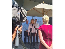 Member for Bundaberg Tom Smith, Assistant Tourism Minister Michael Healy and Janelle Gerry open the Macadamia Australia Tourism Experience