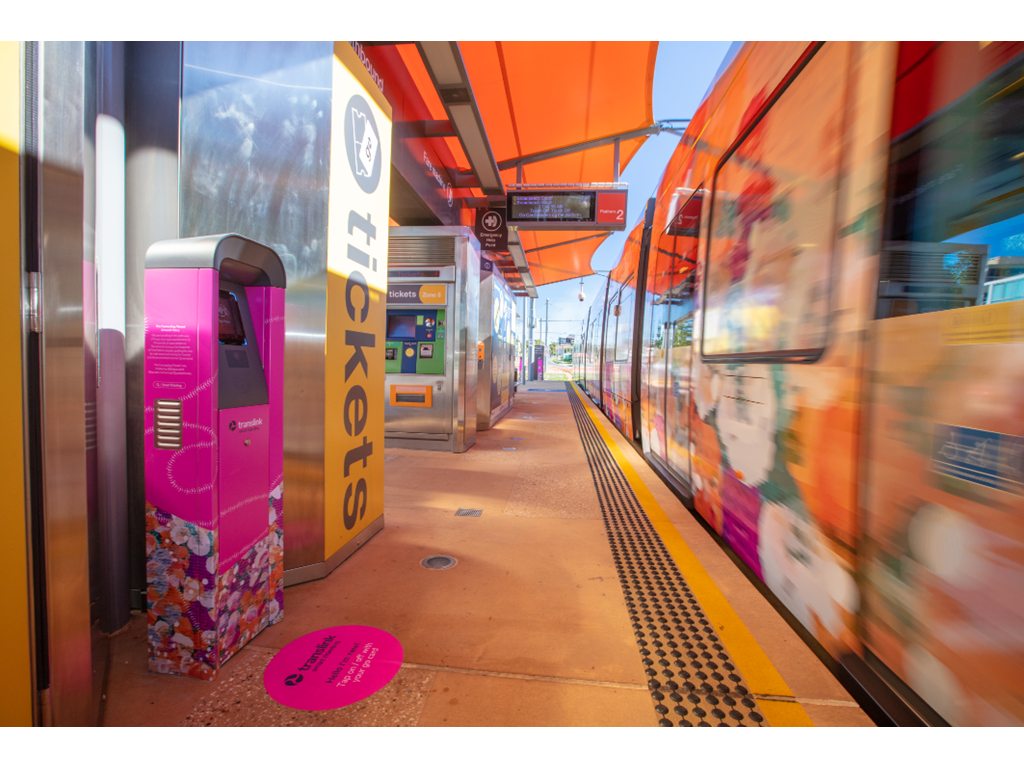 Gold Coast ticket validator wrapped in The Connecting Thread First Nations artwork