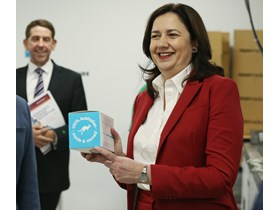 Premier Annastacia Palaszczuk and Treasurer Cameron Dick at Aspen Medical announce a target of 25 per cent of Government purchased PPE to be Queensland made