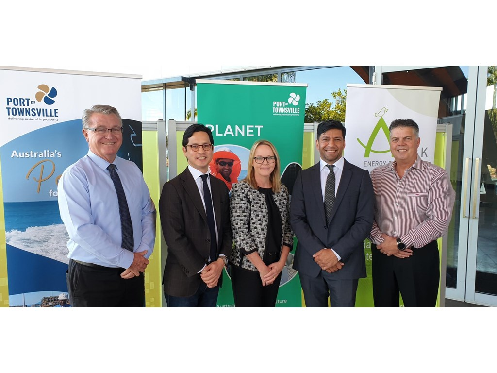 Les Walker MP, Ark Energy CEO Daniel Kim, Port of Townsville CEO Ranee Crosby, Assistant Minister Lance McCallum and Aaron Harper MP in Townsville today.