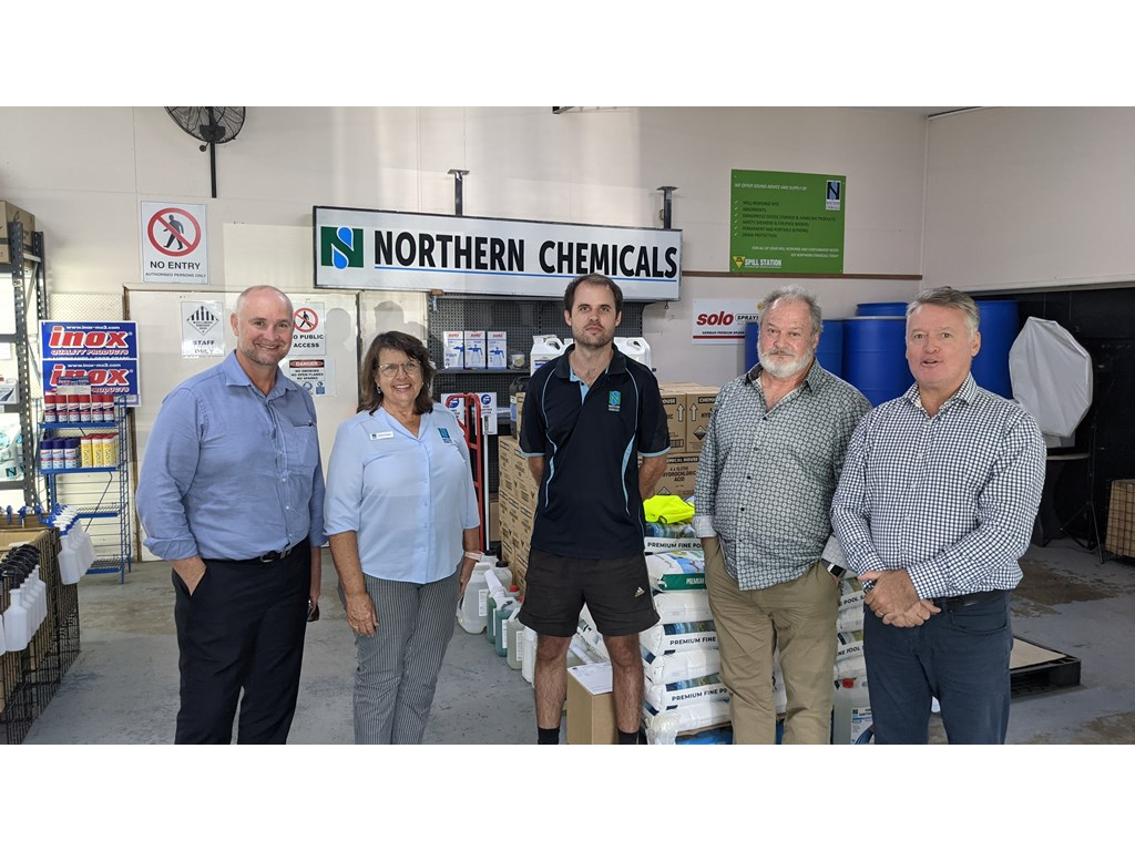 Minister Glenn Butcher MP touring the factory with owners Sue, Byron and Barry Cooper with Member for Cairns Michael Healy MP