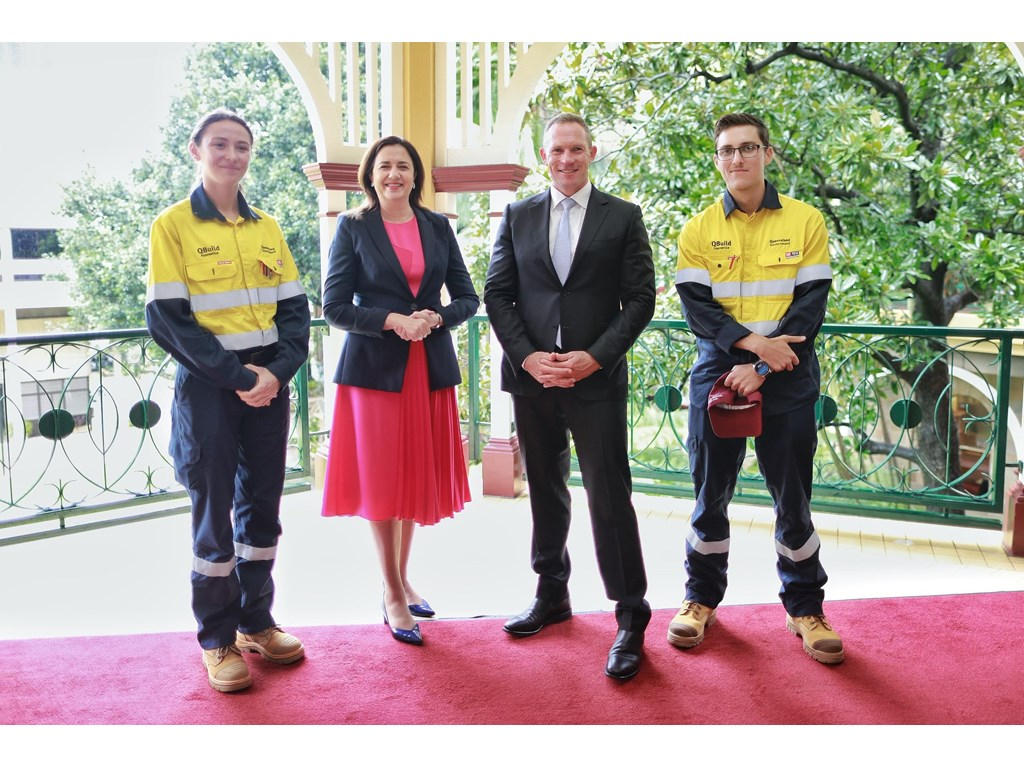 Premier Annastacia Palaszczuk and Public Works Minister Mick de Brenni with QBuild apprentice electricians Andrea Byrne from Tanah Merah and Christian Smart from Townsville - two of 21 being inducted today