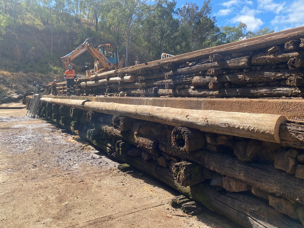 Work being done to repair the 135-year-old Loudoun Weir at Irvinebank.