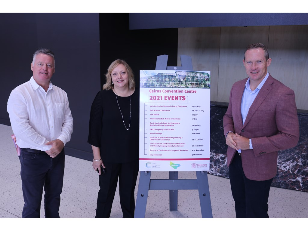 Cairns MP Michael Healy, Convention Centre General Manager Janet Hamilton and Minister Mick de Brenni unveil the 2021 events calendar.