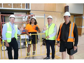 Minister for Public Works Mick de Brenni joins Issack Warner, Cairns MP Michael Healy and NWCI's Scott Lohmann on-site at the Cairns Convention Centre.