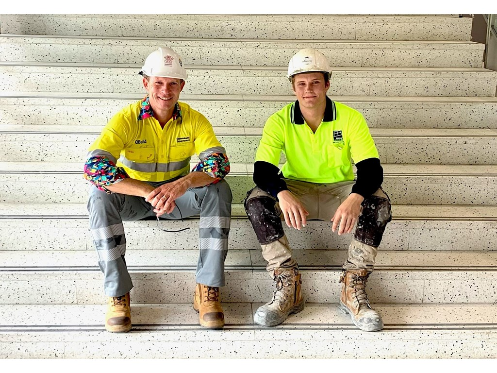Minister de Brenni with first-year apprentice tiler Blake Vanderwerff at the Cairns Convention Centre