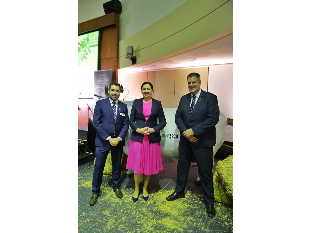 Premier Annastacia Palaszczuk and Agricultural Industry Development Minister Mark Furner with Beef Australia chair Bryce Camm at a Beef 2021 preview event at Parliament House